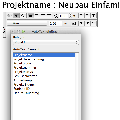 Autotexte in ArchiCAD 18